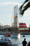 Arrival of the Magi to Barcelona port by boat Stock Photography