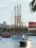 Arrival of the Magi to Barcelona port by boat Royalty Free Stock Images
