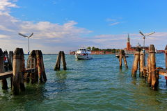 Arrival a motor boat in the morning. Venice, Italy Royalty Free Stock Images