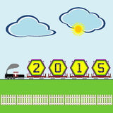 Arrival of New Year 2015. An illustration of the arrival of the New Year 2015 on a bright billboard in a steam locomotive powered freight train against a Royalty Free Stock Photos