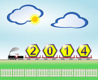 Arrival of New Year 2014. Raster illustration of a concept depicting the arrival of the New Year 2014 in a steam locomotive powered freight train against a Stock Photos