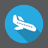 Arrival, Plane landing flat icon. Round colorful button, circular vector sign with long shadow effect. Flat style design. Stock Photos