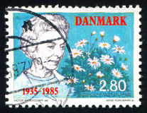 Arrival of Queen Ingrid in Denmark. DENMARK - CIRCA 1985: stamp printed by Denmark, shows Arrival of Queen Ingrid in Denmark, circa 1985 Royalty Free Stock Photography