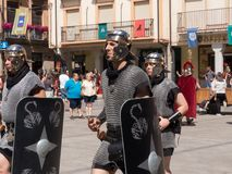 ARRIVAL OF THE ROMA TROOPS, PARTY ASTURES AND ROMANS. ARRIVAL OF THE ROMAN TROOPS TO THE MAIN SQUARE OF ASTORGA, IN THE ANNUAL PARTY OF ASTURES AND ROMANS royalty free stock photos