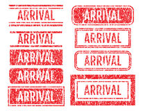 Arrival Rubber Stamps Grunge Style With Scratches Set Royalty Free Stock Photo