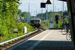 Arrival S-Bahn to the station Grunau. Berlin Royalty Free Stock Photo