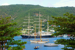 The arrival of the sailing ship tenacious in the windward islands. An historic british tall ship used for the training of sailors visiting port elizabeth, bequia Stock Photography