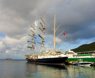 The arrival of the sailing ship tenacious in the windward islands Stock Photography