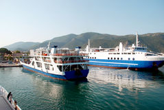 Arrival of ships in port of Igoumenitsa, Greece.  Royalty Free Stock Photography