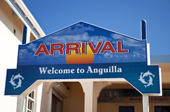 Arrival sign. Welcome arrival sign in the caribbean island of Anguilla Royalty Free Stock Image