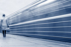 Arrival of the subway train. Stock Image