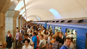Arrival subway train station Maydan Nezalezhnosti. Kiev, Ukraine - June 25, 2015: Arrival subway train station Maydan Nezalezhnosti. Embarking passengers in the stock video