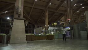Arrival time zone at the Sanya Phoenix International Airport at night stock footage video stock video footage