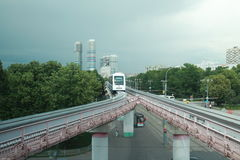 Arrival to the monorail station Royalty Free Stock Photography