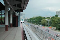 Arrival to the monorail station Royalty Free Stock Photos