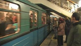 The arrival of the train in Moscow metro stock video