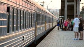 Arrival of the train at the railway station. Bila Tserkva, Ukraine, Train Station. August 16, 2015:-arrival of the train at the railway station stock video