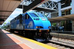 Arrival of train in station in perspective view, Florida Stock Photo