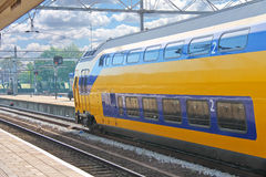 Arrival of the train at station. Arrival of the train at railway station Royalty Free Stock Photo