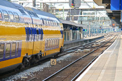 Arrival of the train at  station. Arrival of the train at railway station Stock Image