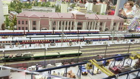 Arrival of train at station. ST. PETERSBURG - JULY 2016: Arrival of train at station in small city, Russia. The Grand Maket, which opened in 2011, is a 1:87 stock video