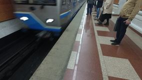 Arrival of the train to the metro station. Subway stock footage
