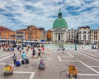 Arrival in Venice. San Simone Piccolo is in the background after arrival in Venice, Italy stock photos