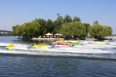 Arrival of water-motor boats at the World Championship Royalty Free Stock Photo