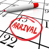 Arrival Word Circled Calendar Travel Anticipation Order Delivery Stock Image