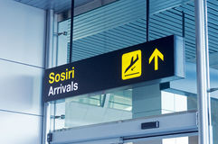 Arrivals airport sign Royalty Free Stock Images