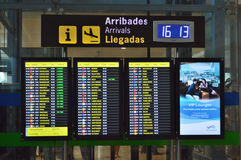 Arrivals Board At Alicante Airport Royalty Free Stock Photography