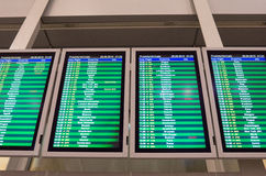 Arrivals board in Warsaw airport Stock Photos