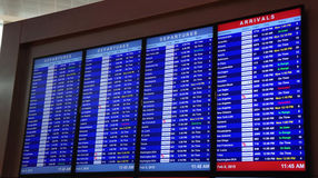 Arrivals and departures of flights in Dallas. Electronic signs indicating departures and arrivals in Dallas, Texas airport Stock Image