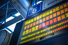 Arrivals and departures information board Europe Stock Images