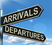 Arrivals Departures Signpost Stock Photos