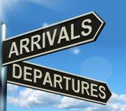 Arrivals Departures Signpost Stock Photos