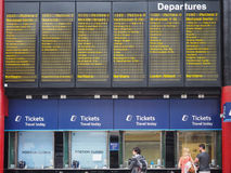 Arrivals and departures timetable in Liverpool Royalty Free Stock Image