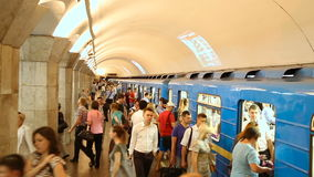 Arrivals and departures at underground train station Maydan Nezalezhnosti. Kiev, Ukraine - June 25, 2015: Arrivals and departures at underground train station stock footage