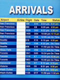 Arrivals display board at airport terminal Royalty Free Stock Image