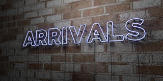 ARRIVALS - Glowing Neon Sign on stonework wall - 3D rendered royalty free stock illustration Stock Image