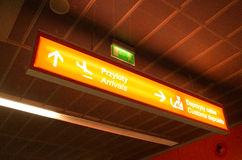 Arrivals information sign in airport. Information sign in Frederic Chopin Airport in Warsaw Stock Photo