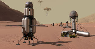 Arrivals on Mars. Manned spacecraft accompanied by automated chain of cargo landers Royalty Free Stock Photo