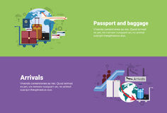 Arrivals Passport Luggage Airplane Departure Transportation Air Tourism Web Banner. Flat Vector Illustration vector illustration