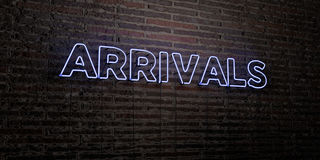 ARRIVALS -Realistic Neon Sign on Brick Wall background - 3D rendered royalty free stock image Royalty Free Stock Photo