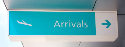 Arrivals sign. A blue arrivals sign at an airport Stock Images