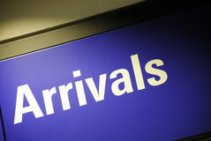 Arrivals sign Royalty Free Stock Image