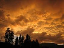 Arrivar a fiumie delle nuvole di tempesta di estate fotografie stock libere da diritti