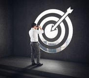 Arrive at a goal of success. Businessman successful vision . 3D Rendering Stock Image
