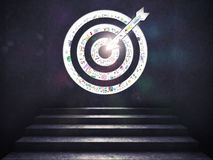 Arrive at a goal of success.the stairs up to a target. 3D Rendering. Stairs up to a target with the arrow etched in the wall. Arrive at a goal of success concept Royalty Free Stock Photography
