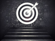 Arrive at a goal of success.the stairs up to a target. 3D Rendering. Stairs up to a target with the arrow etched in the wall. Arrive at a goal of success concept Royalty Free Stock Photo